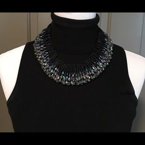 Black and Blue Crystal and Bead Necklace....